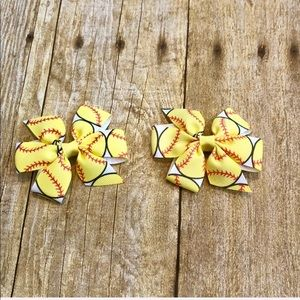 2 Softball Hair Bows